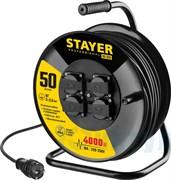 Удлинитель на катушке Stayer ПРОФ. 55076-50, 4000Вт, 16А, 50м, 4 гнезда